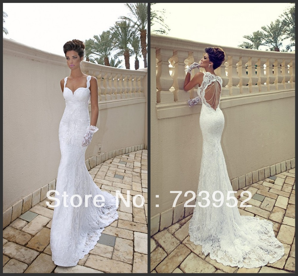 aliexpress wedding dresses Aliexpress com Buy New Fashion Women Sexy Spagetti Straps Lace Beading Backless Beach Wedding Dresses from
