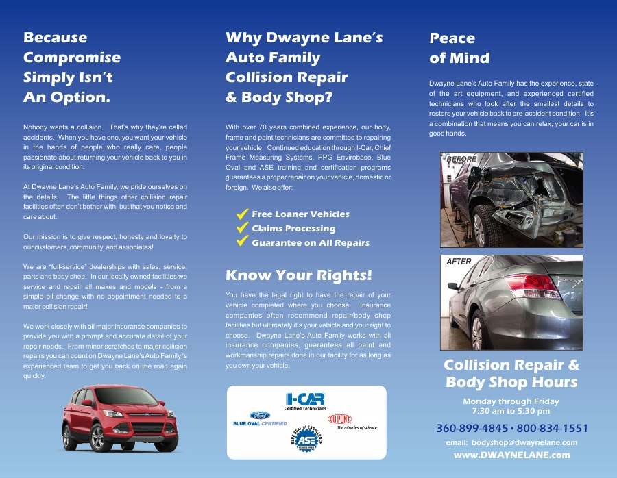 Dwayne Lane s Auto Family   New Dodge  Jeep  Mazda  Lincoln     Body Shop Brochure  Website