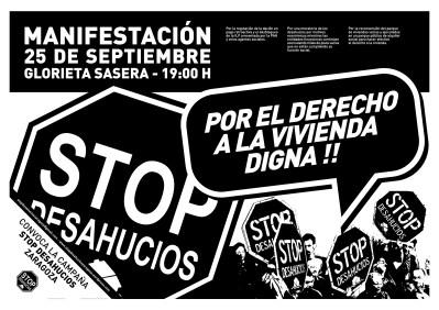25 de Septiembre: Manifestación por el derecho a la vivienda digna! | STOP DESAHUCIOS ZARAGOZA