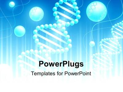 PowerPoint Template: Science background with DNA theme in blue and white (25953)