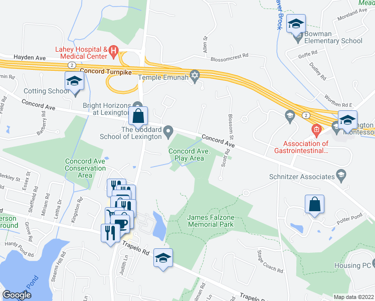 306 310 Concord Avenue  Lexington MA   Walk Score map of restaurants  bars  coffee shops  grocery stores  and more near 306
