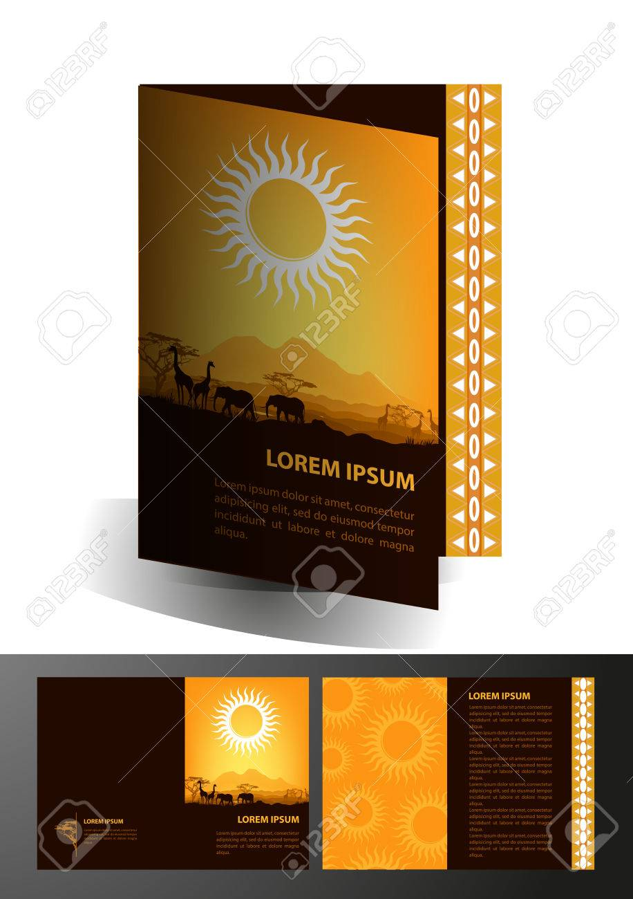 Africa Travel Brochure Design Template Royalty Free Cliparts     Africa travel brochure design template Stock Vector   24530876