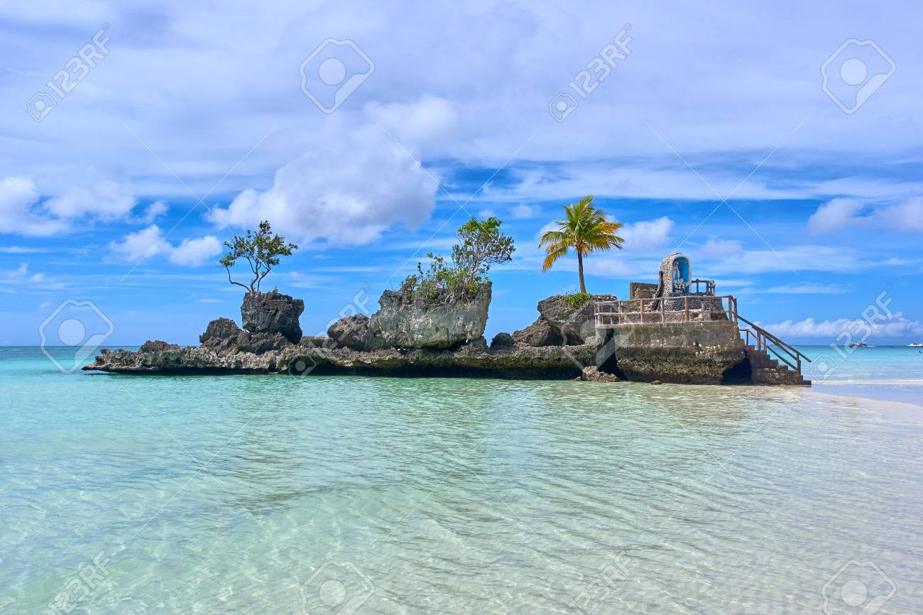 Boracay Island Grotto  Willy s Rock    Famous And Controversial     Boracay island Grotto  Willy s Rock    Famous and Controversial Landmark    Philippines Stock Photo
