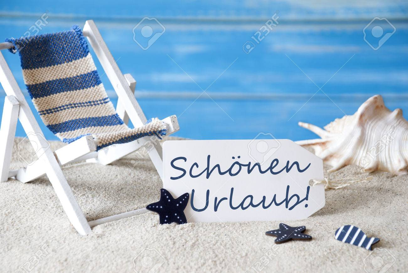 Summer Label With German Text Schoenen Urlaub Means Happy Holiday     Stock Photo   Summer Label With German Text Schoenen Urlaub Means Happy  Holiday  Blue Wooden Background  Card With Holiday Greetings