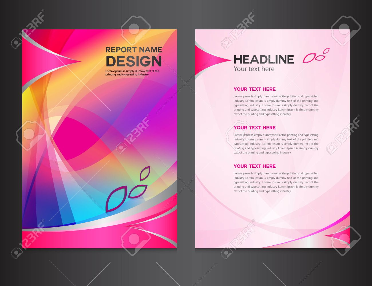 Pink Annual Report Vector Illustration cover Design  Brochure     pink Annual report Vector illustration cover design  brochure design   template design graphic