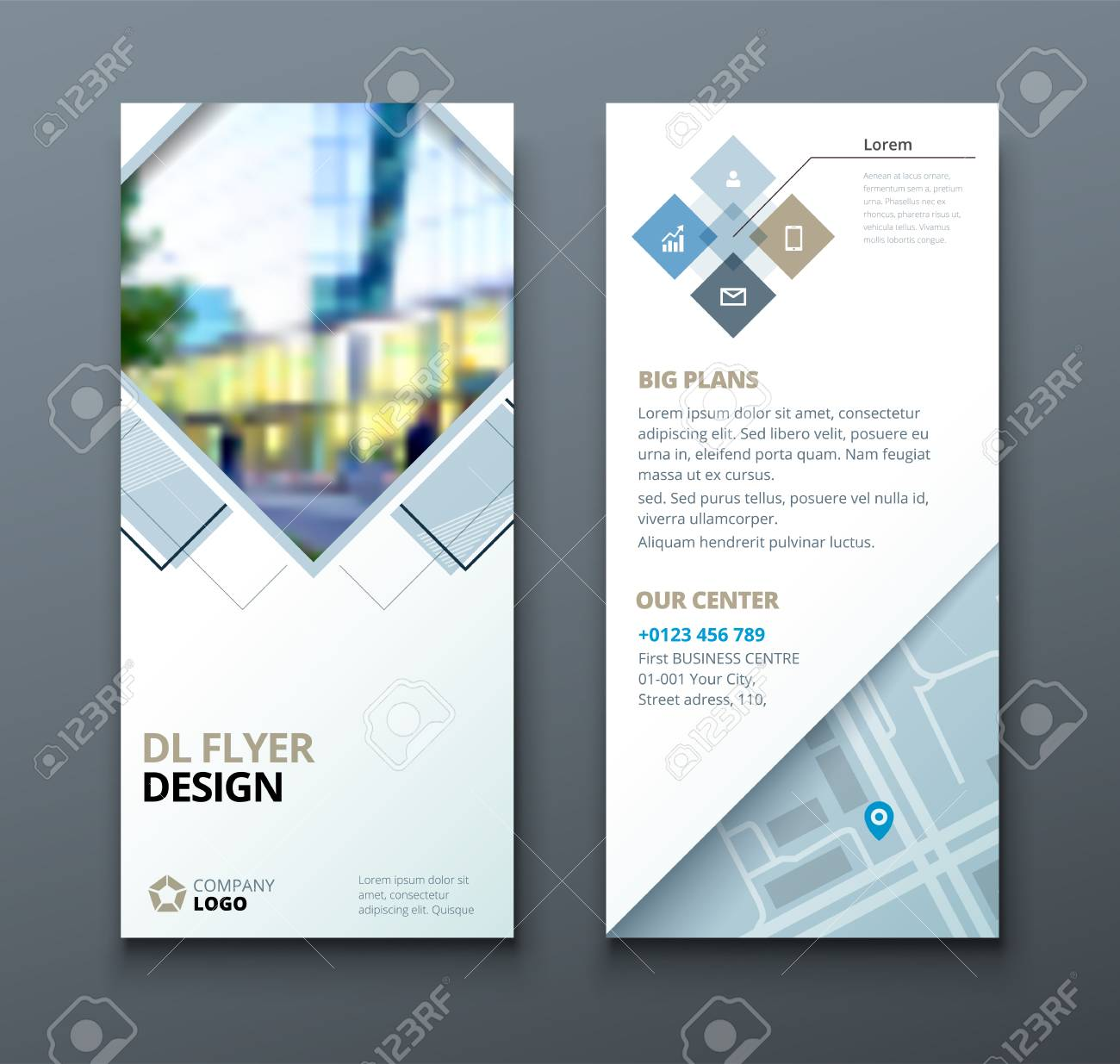 Tri Fold Brochure Design  Corporate Business Template For Tri     Tri fold brochure design  Corporate business template for tri fold flyer  with rhombus square shapes