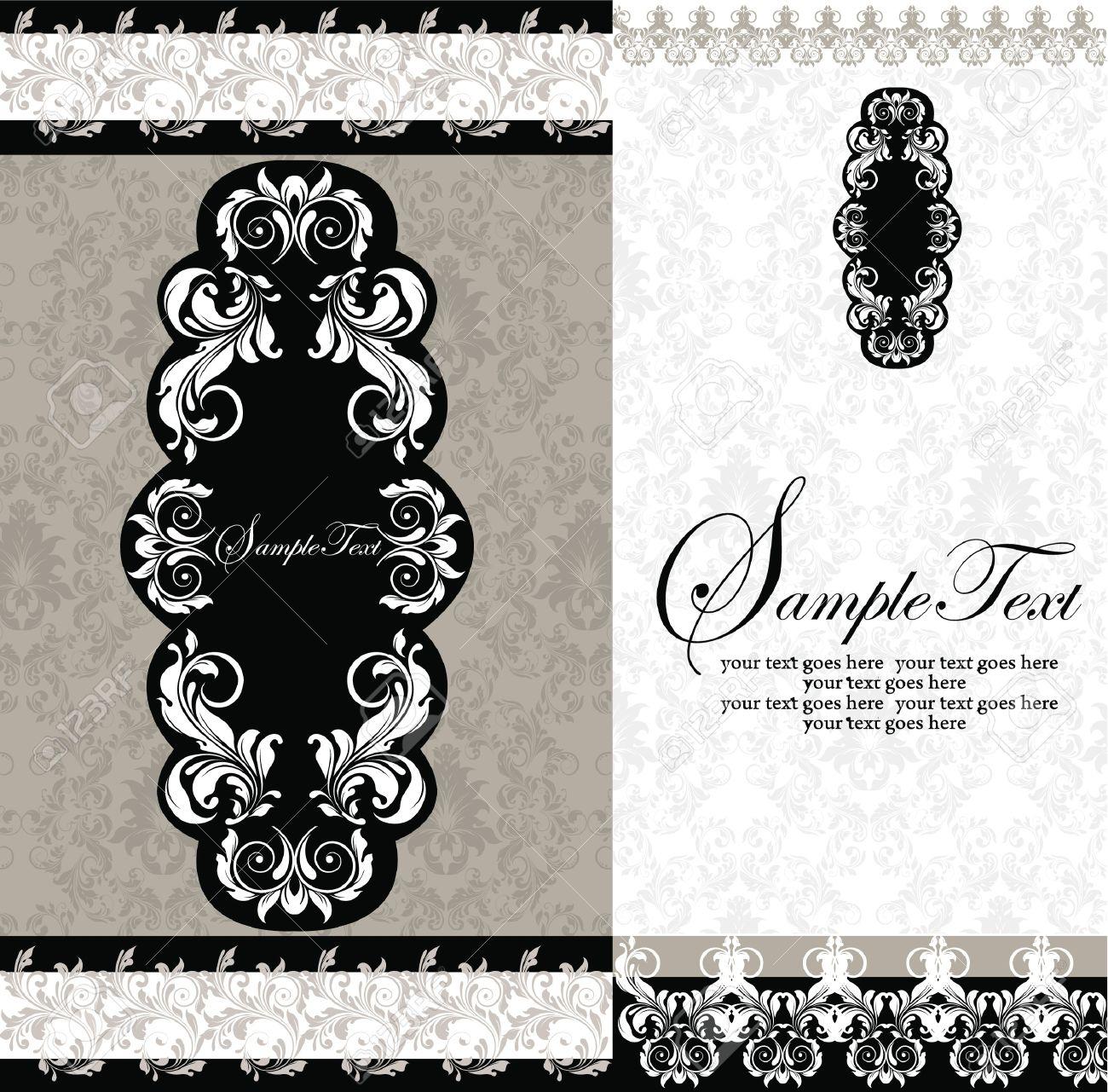 photo black and white damask wedding invitations damask wedding invitations Black and White Damask Wedding Invitations Stock Vector