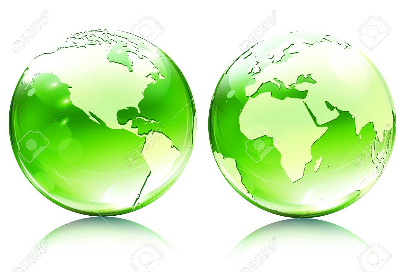 Vector Illustration Of Green Glossy Earth Map Globes In Different     Vector   Vector illustration of green glossy earth map globes in different  angles