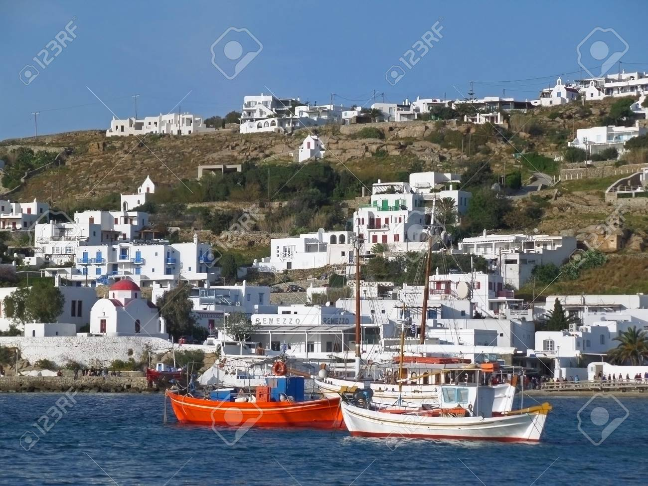 Stunning View Of The Old Port Of Mykonos  Mykonos Island  Greece     Stock Photo   Stunning view of the Old Port of Mykonos  Mykonos island   Greece