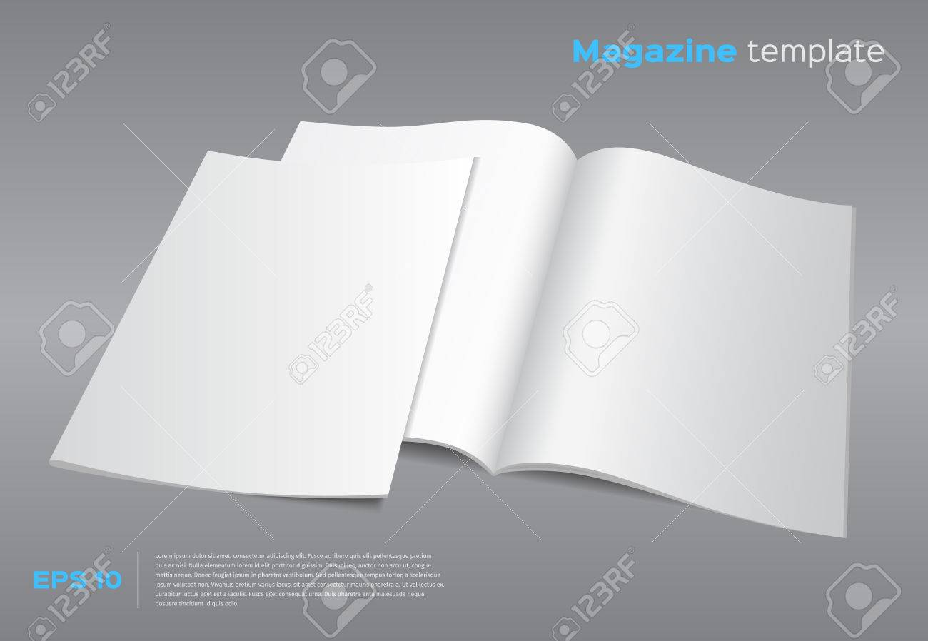 Blank Brochure Mockup Template  Opened Magazine With Cover     Blank brochure mockup template  Opened magazine with cover  Realistic  vector EPS10 illustration  Gray