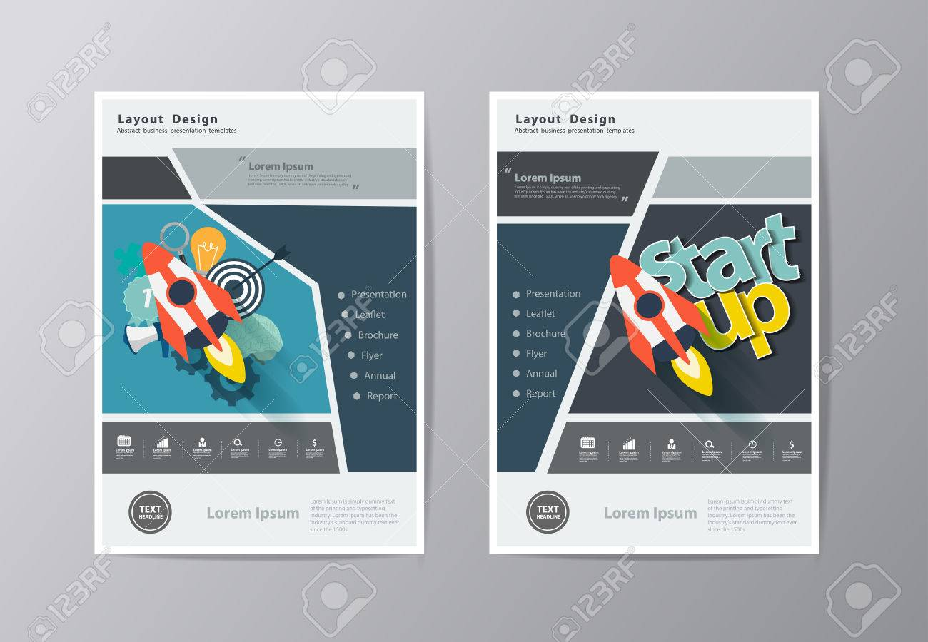 Annual Report Leaflet Brochure Template A4 Size Design  With     Annual report Leaflet Brochure template A4 size design  With flat startup  business ideas concept