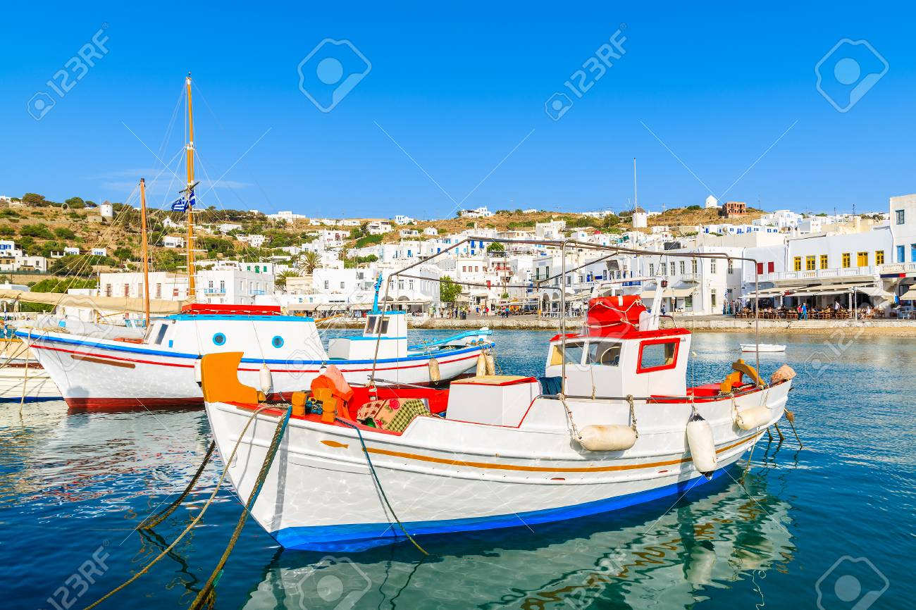 Traditional Fishing Boats In Mykonos Port  Mykonos Island  Greece     Stock Photo   Traditional fishing boats in Mykonos port  Mykonos island   Greece