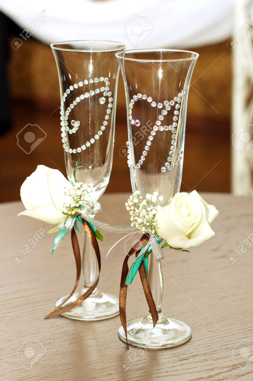 photo beautiful wedding wine glasses wedding wine glasses Beautiful wedding wine glasses Stock Photo