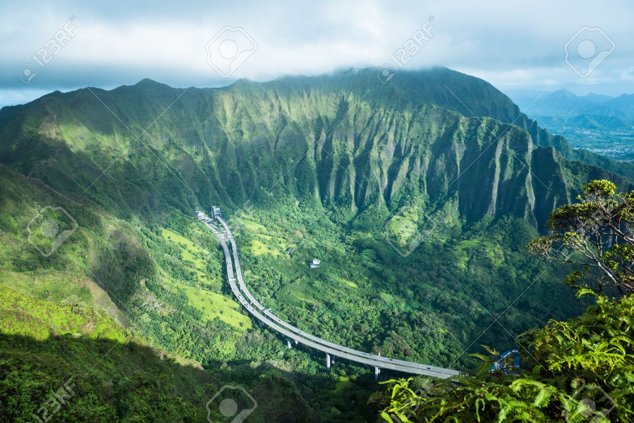 Scenic View From Stairway To Heaven In Oahu Island Hawaii Stock     Scenic view from Stairway to Heaven in Oahu island Hawaii Stock Photo    68043759