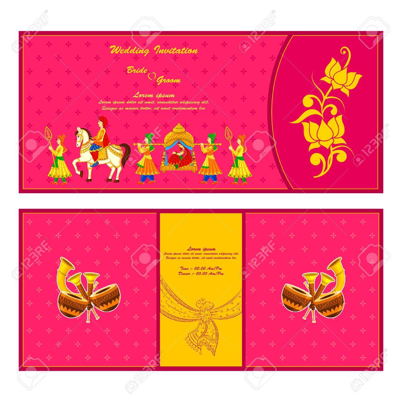 photo vector illustration of indian wedding invitation card indian wedding invitation Vector vector illustration of Indian wedding invitation card