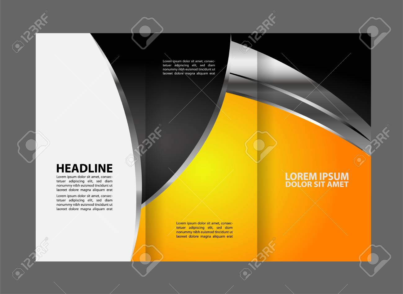 Tri fold Brochure Design Vector Template With Abstract Geometric     Tri fold brochure design vector template with abstract geometric background  Tri Fold Mock Stock