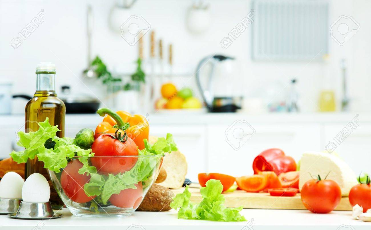 10718743 healthy foods are on the table in the kitchen Stock Photo food