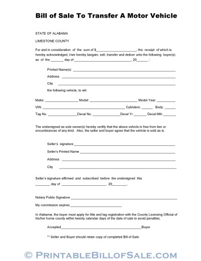 Free Limestone County Alabama Vehicle Bill of Sale Form | Download PDF | DOC Template