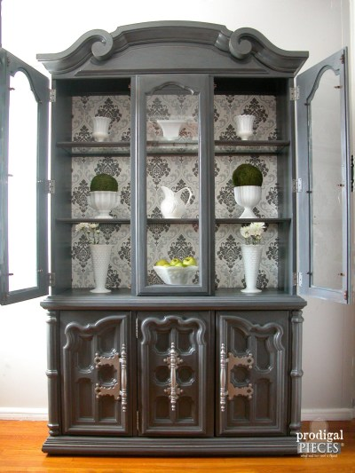 China Cabinet Makeover with Wallpaper - Prodigal Pieces