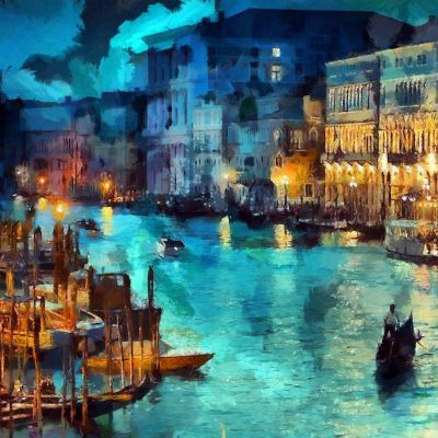 Art Classic Painting Water Lake Night Blue iPad Air Wallpaper Download   iPhone Wallpapers, iPad ...