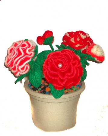 Фото вязание роз крючком