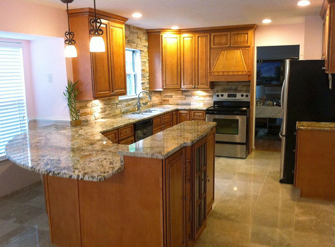 kitchen remodel manassas va kitchen remodeling manassas va Kitchen remodel with medium wood cabinets granite counters stainless appliances under cabinet lighting