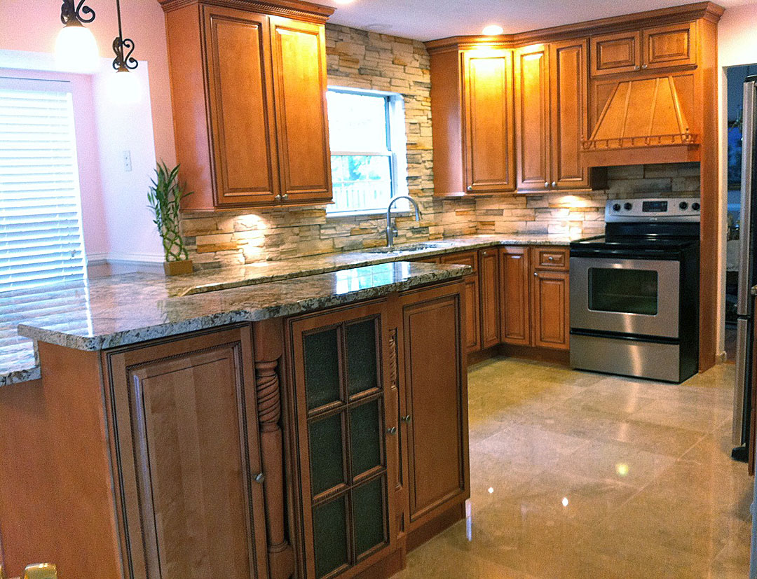 kitchen remodel manassas va kitchen remodeling manassas va Kitchen remodel with medium wood cabinets granite counters marble floor tile under cabinet