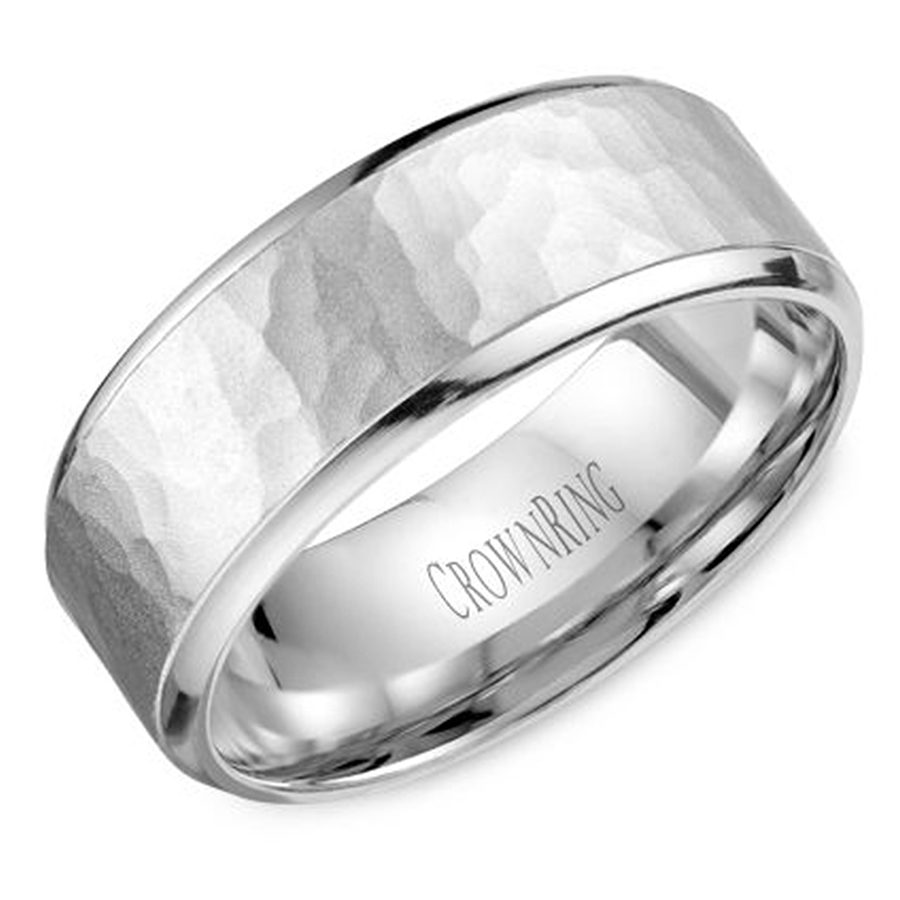 crown ring wb m10 hammered wedding band hammered wedding band Crown Ring Wedding Bands