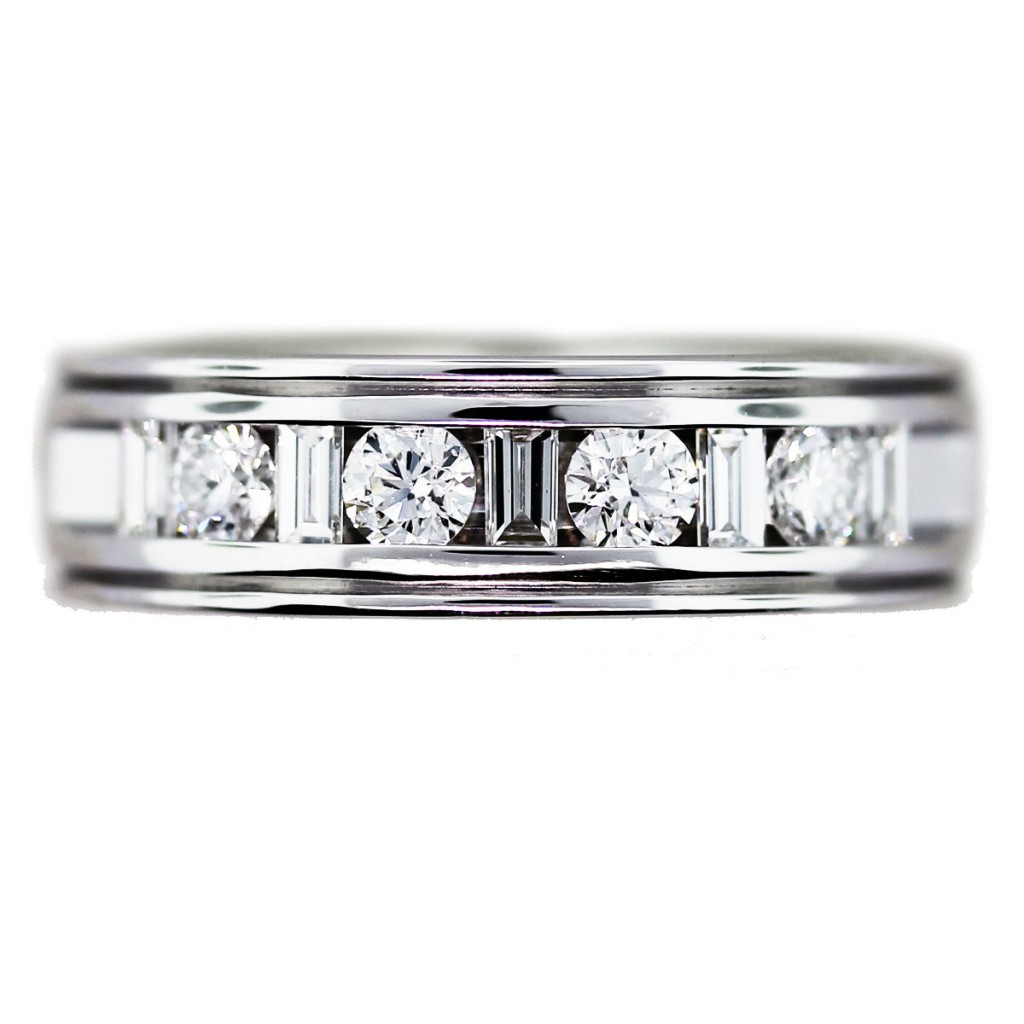 2 carat mens wedding band with round and baguette cut diamonds mens diamond wedding bands