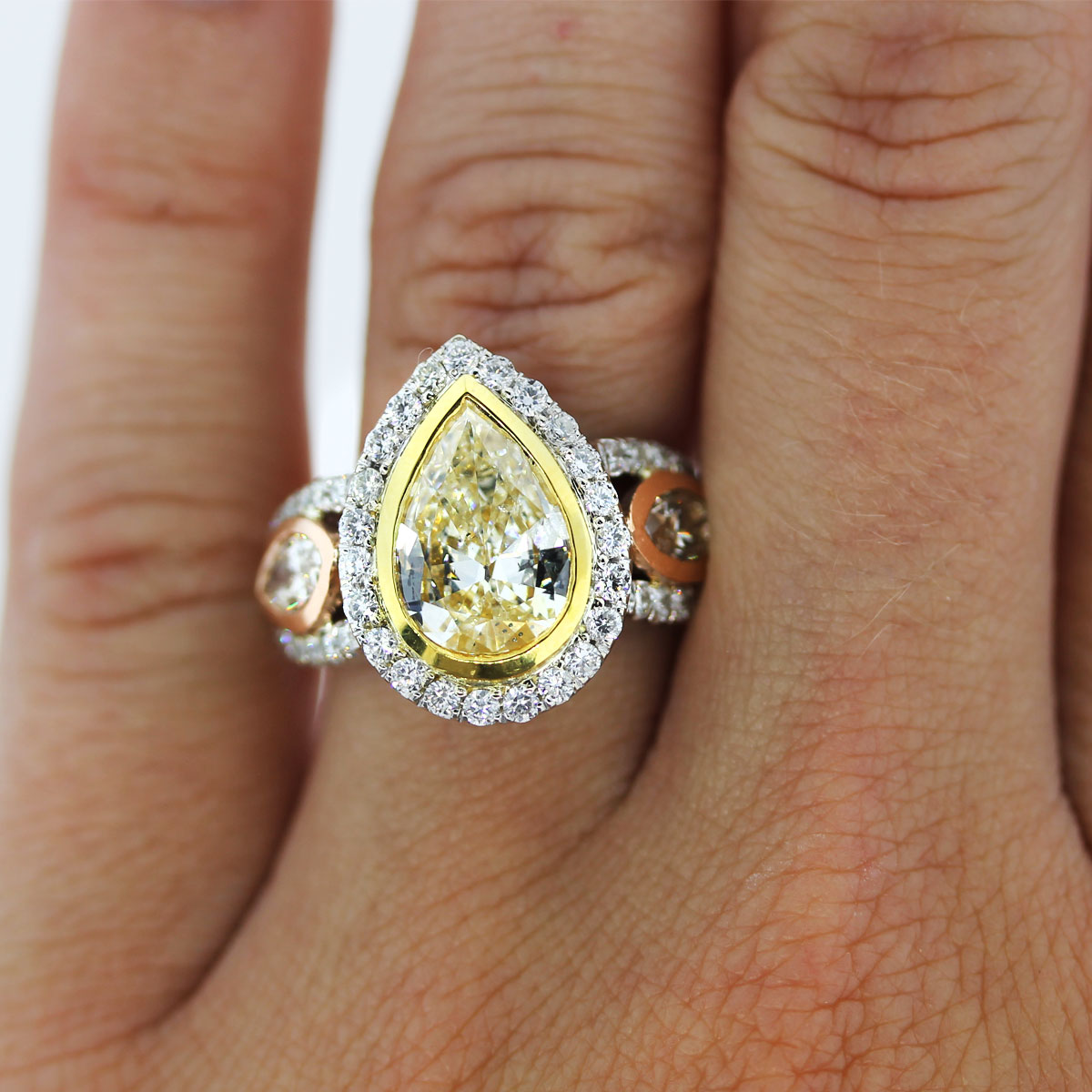 tri tone gold 2 01ct fancy yellow pear shaped diamond engagement ring pear shaped wedding ring Pear Shaped Yellow Diamond Engagement ring