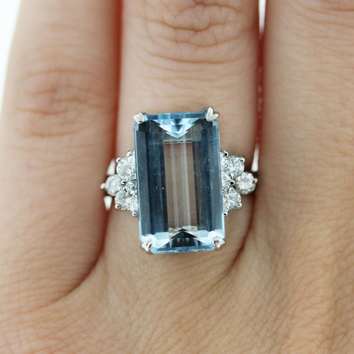14k white gold 10ct emerald cut aquamarine diamond ring aquamarine wedding rings Florida Jewelry Luxury Watches Raymond Lee Jewelers