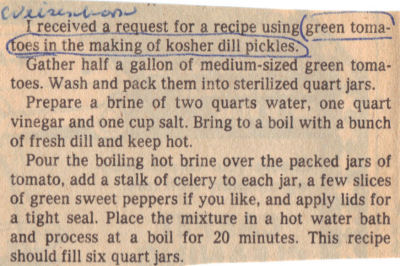 Kosher Dill Pickles Made With Green Tomatoes – Clipping « RecipeCurio.com