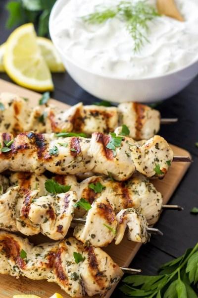 Greek Lemon Chicken Skewers with Tzatziki Sauce - Recipe Runner