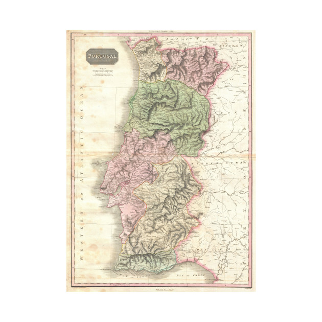 Vintage Map of Portugal  1818    Portugal Map   T Shirt   TeePublic 2056281 1