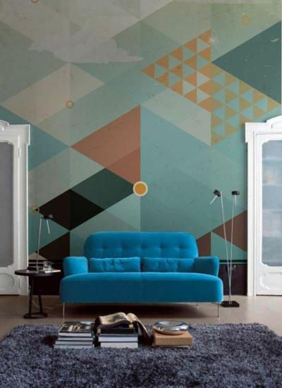 15 Living Rooms With Geometric Wallpaper - Rilane