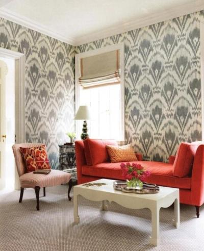 30 Elegant and Chic Living Rooms with Damask Wallpaper - Rilane