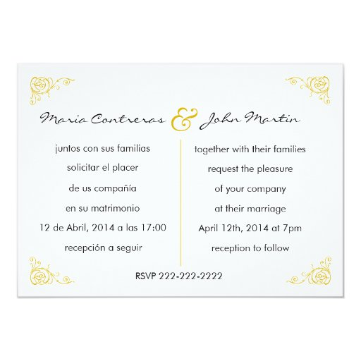 Bilingual English Spanish Wedding Invitation | Zazzle
