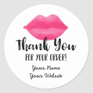 Business Stickers   Zazzle Lip Business Thank You Stickers  Lips  Lipstick Classic Round Sticker