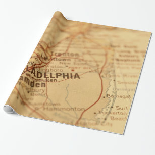 Antique Maps Wrapping Paper   Zazzle Philadelphia  PA Vintage Map Gift Wrap