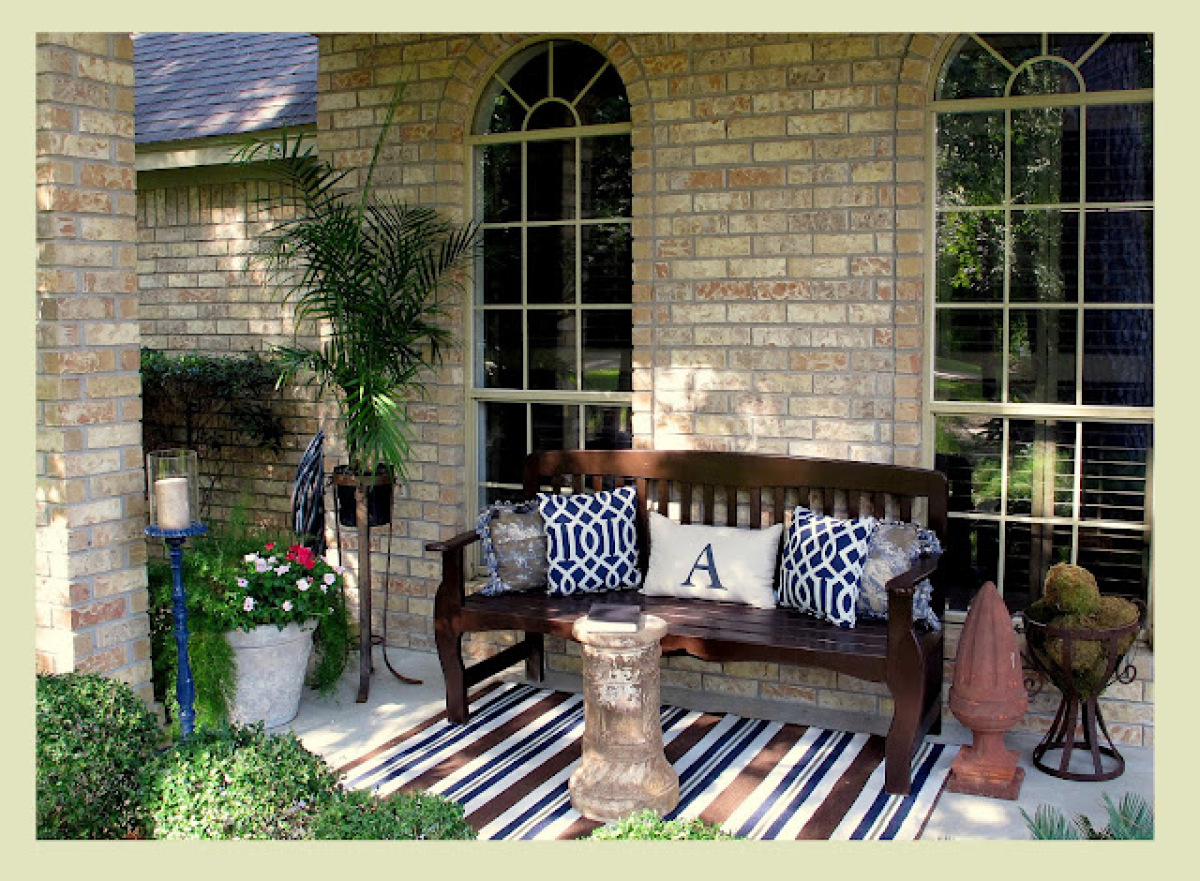 Outdoor Decor  14 Casual  Comfy Front Porch Ideas   HuffPost Decor Ideas  Front Porch  Not only do they make a hardwood bench feel more  comfortable  monogrammed throw pillows are