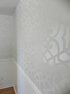 Petal Play Floral Damask Wall Stencil | Wall finishes, Flower and Patterns