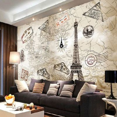 European retro world map personalized custom wallpaper murals wallpaper the living room TV ...