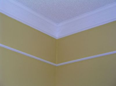 Using crown molding to hide wallpaper border. | Home decor | Pinterest | Dress up, Tall ceilings ...