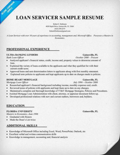 Loan Servicer Resume Sample | Carol Sand JOB Resume Samples | Pinterest | Resume examples and Resume