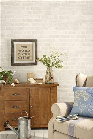 White brick wallpaper in living room #wallpaper | Room | Pinterest | White brick wallpaper ...
