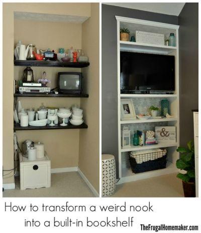 How to transform a weird nook into a built-in bookshelf | Frugal Homemaker DIY + crafts ...