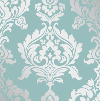 Teal & Metallic Silver Damask Wallpaper | Wallpaper | Pinterest | Traditional, Damask wallpaper ...