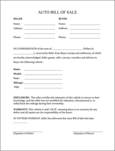 Printable Sample Bill of sale camper Form   Forms and Template   Pinterest   Bill o'brien ...