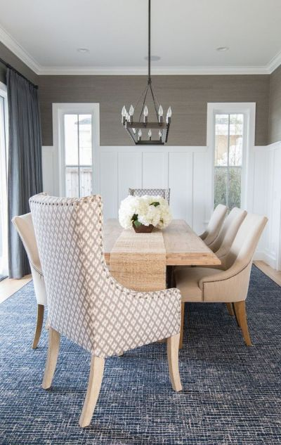 Dining room wainscoting. In this dining room, the designer added a slate blue gray grasscloth ...