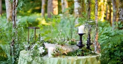 Whimsical Green table decor for a woodland wedding and ...